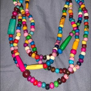 Rainbow wooden beaded layered necklace